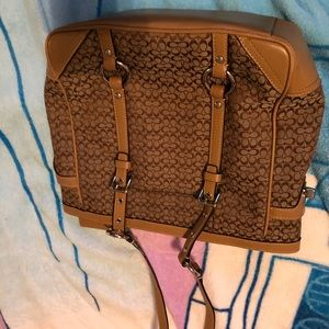 Coach tan mini signature shoulder bag